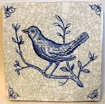 """19th Century Style Blue & White Delft Tile, 5"""" x 5"""" Song Bird, Brand New"""