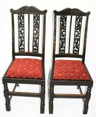Pair of Antique Victorian Ebonized Chairs - FREE Shipping [5214]