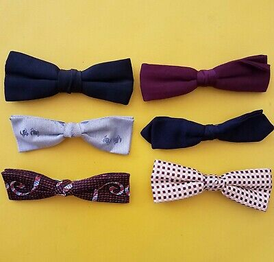 LOT OF 6 VTG '60s MOD SKINNY MENS BOW TIES clip-on