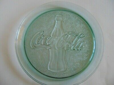 "Coca Cola Coke Bottle Round Clear Green Glass 13"" Serving Tray Plate Platter"