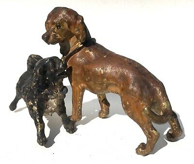 Antique Austrian Cold Painted Bronze Large Pair Of Dogs Playing Bergman?