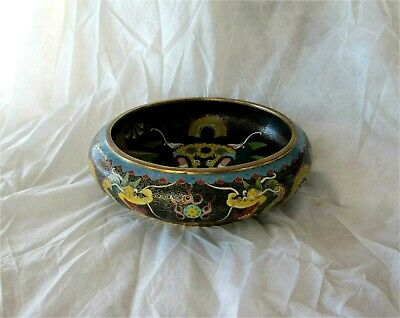 Antique Chinese Cloisonne Enamel Bowl Imperial Five Claw Dragon Large Superb