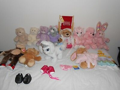 BUILD A BEAR LOT 23+ pc BEARS, POODLE, BUNNY, MONKEY, OUTFITS, HELLO KITTY BABW