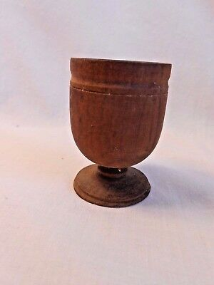 Vintage TURNED WOODEN CARVED FOOTED CUP GLASS  Stamped HAITI on the bottom