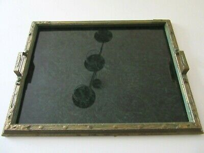 "Antique Vintage ARTS & CRAFTS MISSION STYLE GESSO FRAME DECORATIVE TRAY 17"" Wide"