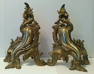 Vintage Brass Fireplace Firedogs Andirons French Rococo Style Acanthus