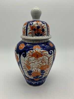 Antique Oriental Imari Porcelain Temple Jar and Lid circa 1870