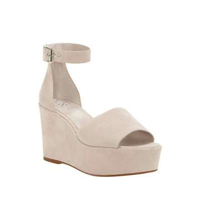 f45e53bda0 Vince Camuto Women Suede Ankle Strap Wedge Sandals Size US 7.5M Tipsy Taupe