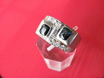 Vintage Estate NATURAL SAPPHIRE & DIAMOND ART DECO 14K WHITE GOLD RING ~ sz 11.5
