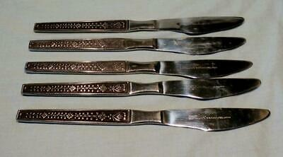 "5 Vintage Japanese Stainless Steel Dinner Knives 8.75"" Cordova Riviera Pattern"