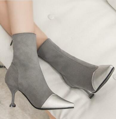 6e1774ffacb2 Women's Suede Kitten Heel Elegant Ankle Boots Pointed Toe Shoes Casual  Booties