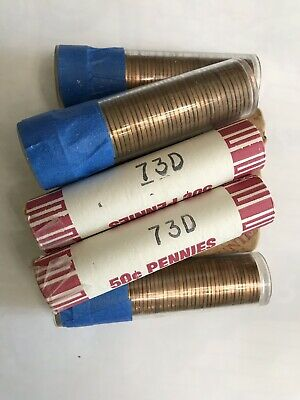 8-Rolls Of 1973-D Owb Unsearched Uncirculated Lincoln Memorial Cents