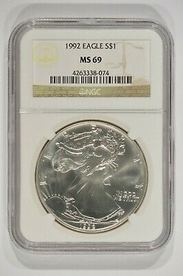 1992 American Silver Eagle $1 NGC MS69 Brown Label 4263338-074