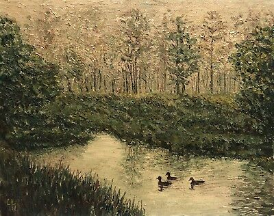 C L Vintage Landscape Ducks Lake Nature Study Painting