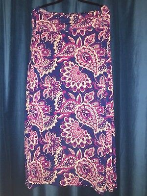 cdea374251 LuLaRoe Maxi Skirt large L purple violet navy dark floral flowers paisley  long