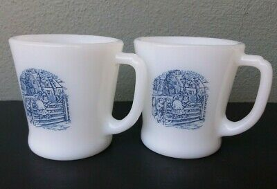 Fire King - Currier & Ives - Vintage Milk Glass Coffee Mugs - Pair