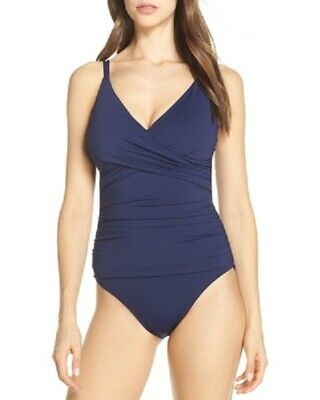 6c7190c620 New Tommy Bahama Pearl Wrap Front Solid Mare Navy One-Piece Swimsuit Size 14