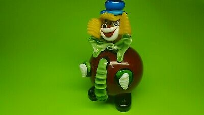 Vtg Murano Glass Colorful Round Body Clown Figurine With 2 Stickers Exc Cond