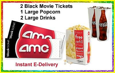 2 Black Movie Tickets 1 Large Popcorn 2 Drinks AMC Theaters. delivered instantly