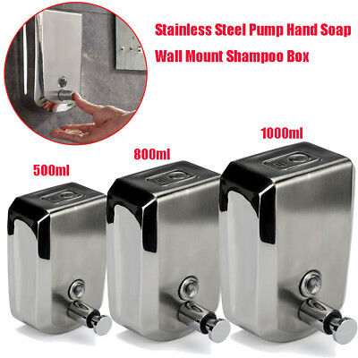 500/800/1000ml Stainless Steel Liquid Soap Dispenser Wall Mount Shampoo Box AU