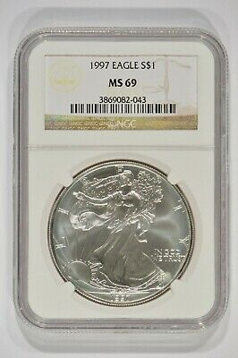 1997 American Silver Eagle $1 NGC MS69 Brown Label 3869082-043