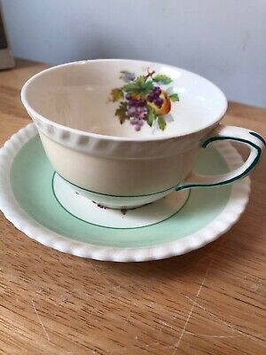 Vintage Johnson Brothers Old English Ivory and Green Cup and Saucer 2 Available