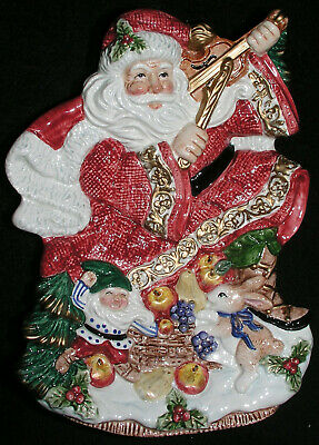 Fitz and Floyd Cookie Canape Plate Christmas Santa Violin Forest Festival Mint