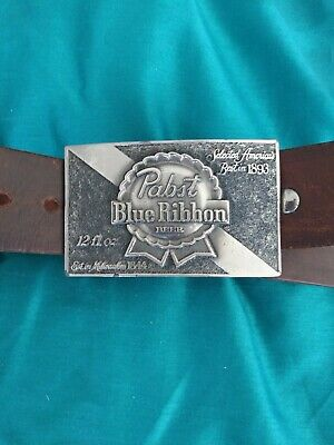 Pabst Blue Ribbon leather belt and buckle made 1979