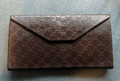 09e1bb7a3053d5 AUTHENTIC GUCCI TRI-FOLD Men's leather wallet w ID holder in dark ...