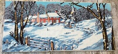Retro Completed Penelope Tapestry Winter Countryside Scene Snowdrift