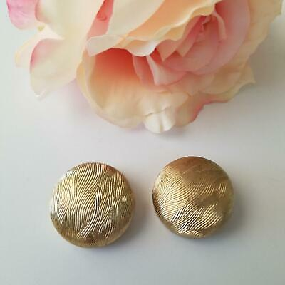 Large Vintage Coro Pegasus Signed Button Clip Earrings Gold Plated & Texture