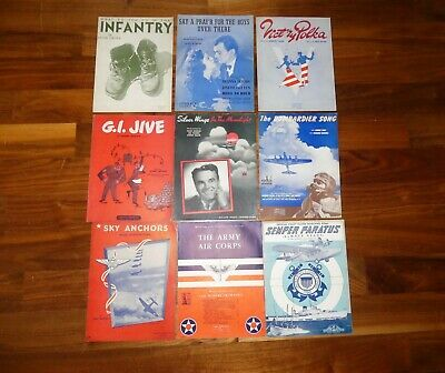Vintage 1940's World War 2 WWII Sheet Music Lot of 9 Army Air Corps Coast Guard