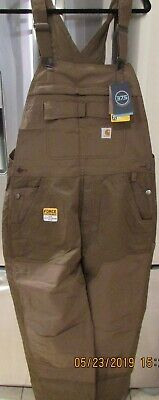 promotion genuine shoes search for clearance CARHARTT MENS 38X32 Bib Overalls Brown Canvas Double Knee ...