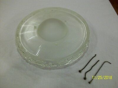 Vintage Antique Glass Shade Globe for 3 Chain Ceiling Light Fixture Art Deco