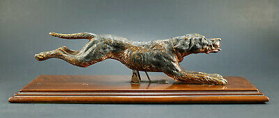 Very Rare Antique German Desk Paper Holder Jumping Dog Cold Painted Bronze 1800s