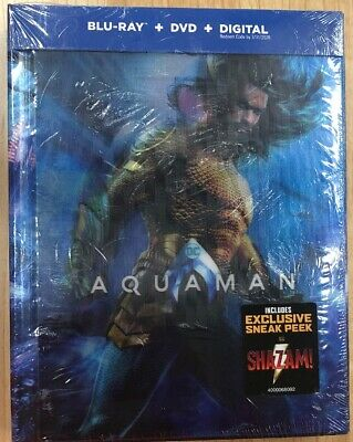 Aquaman (Blu-Ray + DVD + Digital) 64 Page Book Target Exclusive New Sealed