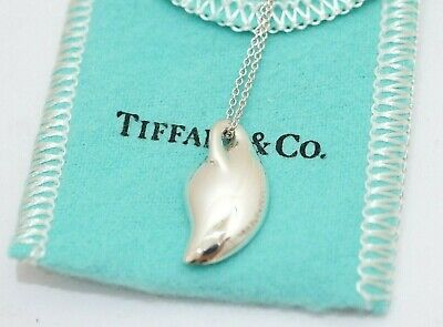 Rare! Tiffany & Co. Elsa Peretti Sterling Silver Leaf Pendant Necklace 16""