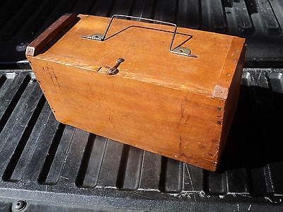 Antique Tool Box Early 1900's, pine 13 1/2 in. long, 6 in. wide, 7 1/2 in. hi.