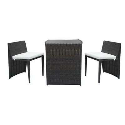 Rattan 2pcs Bar Chairs 1pc Bar Table Set Brown Gradient With Free Shipping US