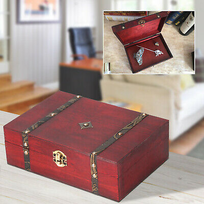 Wooden Vintage Treasure Chest Wood Jewellery Storage Box Case Organiser Ring