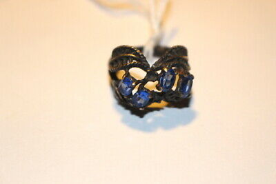 #4427,Vintage Art Deco Period Sterling & Sapphire Ring,Heavy Patina