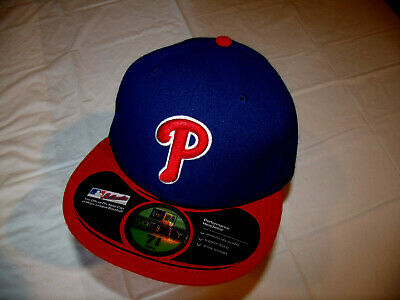 new style 2010d 8ced8 Philadelphia Phillies Blue Hat Red Brim New Era 59Fifty OnField Cap Fitted 7  5 8