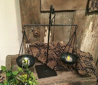 NEW!! Primitive Vintage Farmhouse Wrought Iron Tea Light Candle Holder Scale