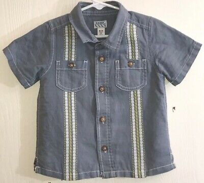 Old Navy Baby Boy's Sz 18-24M Shirt Short Sleeve Blue Button Down Chest Pockets