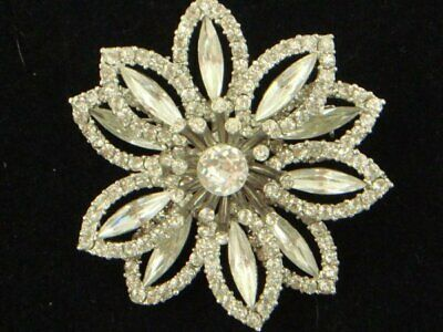 Retro, Vintage 1930s-1980s Vintage Weiss Rhinestone Brooch Pin Set Excellent Condition Bridal Jewelry E1