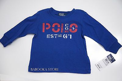Polo Ralph Lauren Toddler Boy Tee Shirt Blue Long Sleeve Top 9 mos NWT