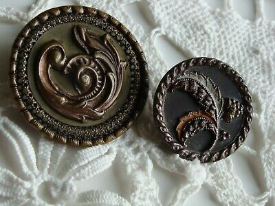 "Lot of 2 ~ Antique Picture Buttons~ Victorian  ~ Feather Plumes ~ 1 1/2"" & 1"""