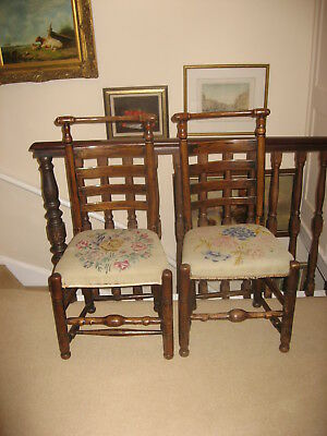 A PAIR OF 18th CENTURY ANTIQUE MACCLESFIELD CHAIRS OF SUPERB COLOUR / H8