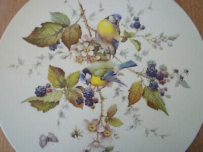 Pimpernel Acrylic Place Mats Vintage Round Birds Blackberries Blossoms