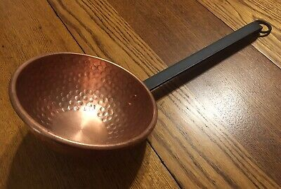 """Vtg Large Hammered Copper 7"""" Diameter Candy Sauce Bowl Ladle Forged Iron Handle"""